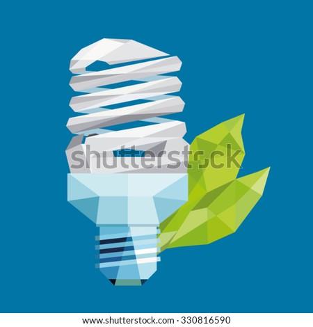 bulb eco friendly / led bulb / lamp with green leaf / save energy geometric vector - stock vector
