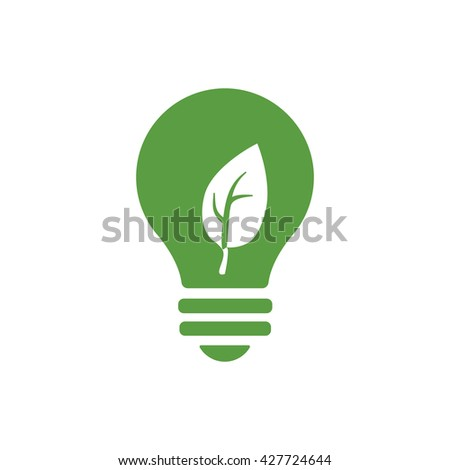 bulb, ecology green icons set on white background