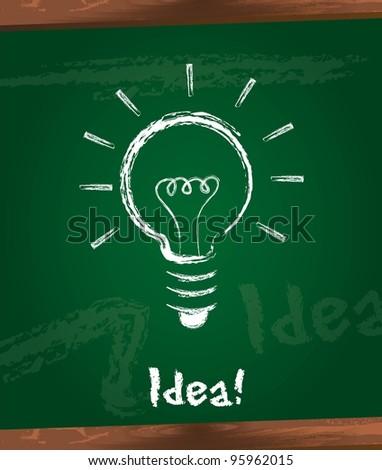 bulb electric over  chalkboard, idea. vector illustration - stock vector