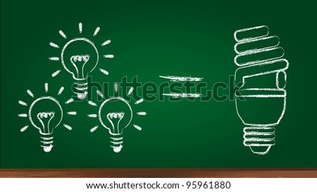 bulb electric over chalkboard, saving energy. vector illustration - stock vector