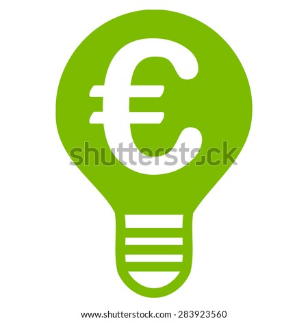 Bulb from BiColor Euro Banking Icon Set. Vector style: flat, eco green symbol, rounded angles, white background. - stock vector