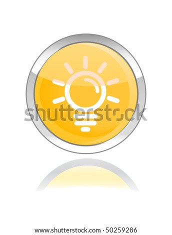 bulb glossy icon button on white background - stock vector