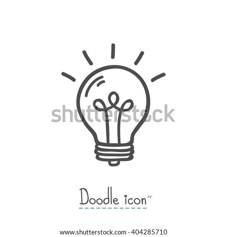 Bulb. Hand Drawn Doodle Icon. - stock vector