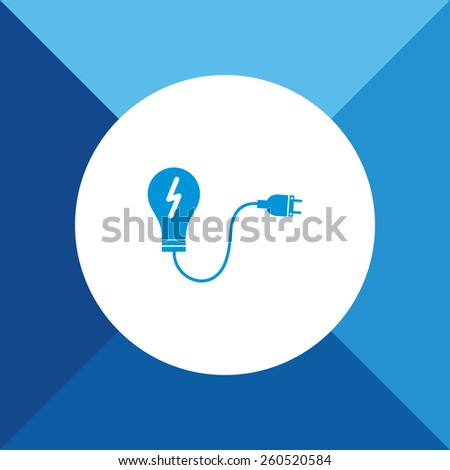 Bulb Icon on Blue Background. Eps-10. - stock vector
