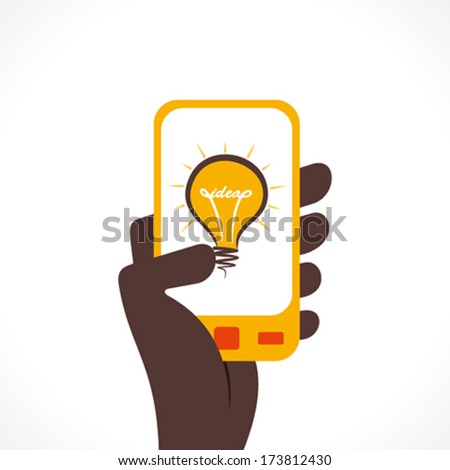 bulb icon or idea concept display on mobile hold in hand vector - stock vector