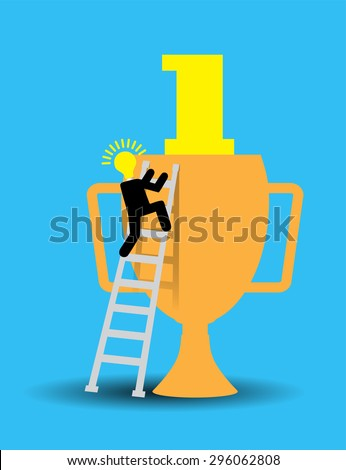 Bulb Idea Businessman climbing ladder to Success. Vector illustration. Businessman climbing to goal. Motivation concept to be successful. win winner goal.finish. Trophies cup.number one - stock vector