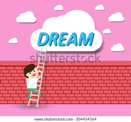 Bulb Idea Businessman climbing ladder to Success. Vector illustration. Businessman climbing to goal. Motivation concept to be successful. winner. finish. win. flat design.dream. brick Wall - stock vector