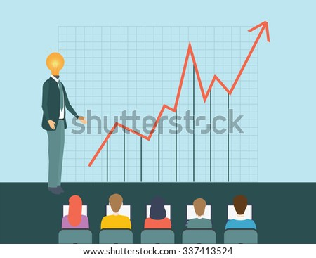 Bulb Lamp Head and Business team on the background of the upward chart, business conceptual vector illustration. - stock vector