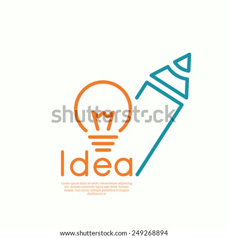 Bulb light idea and pencil.  concept  of ideas inspiration innovation, invention, effective thinking. minimal. Outline. - stock vector