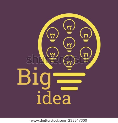 Bulb light idea. concept of big ideas inspiration innovation, invention, effective thinking. text - stock vector