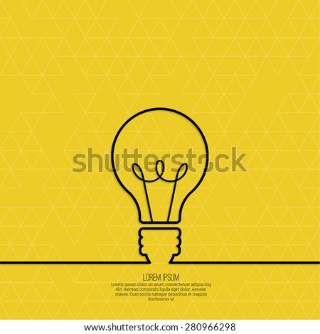Bulb light idea. concept of big ideas inspiration innovation, invention, effective thinking. text. outline - stock vector