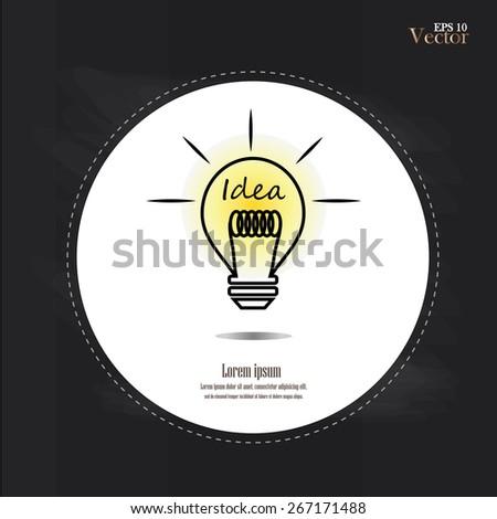 Bulb light idea on chalkboard. vector illustration.idea lamp.idea lamp concept - stock vector