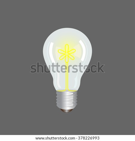 Bulb light with glowing flower inside on grey background.