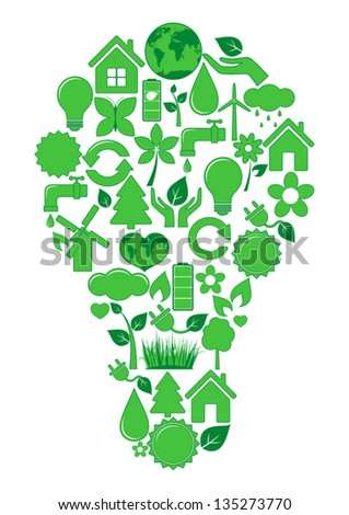 Bulb of ecology icons - stock vector