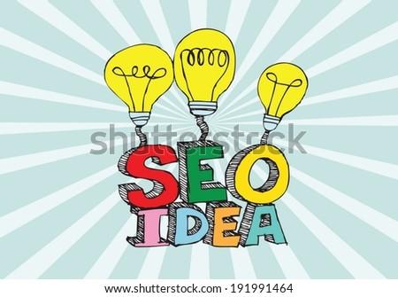 Bulb SEO Idea Search Engine Optimization concept design - stock vector