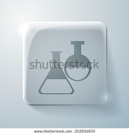 bulb symbol chemistry. Glass square icon with highlights - stock vector