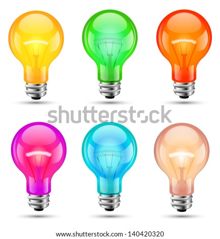 Bulb vector color set 3d style - stock vector