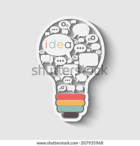 bulb with bubble speech, an idea concept, vector illustration - stock vector