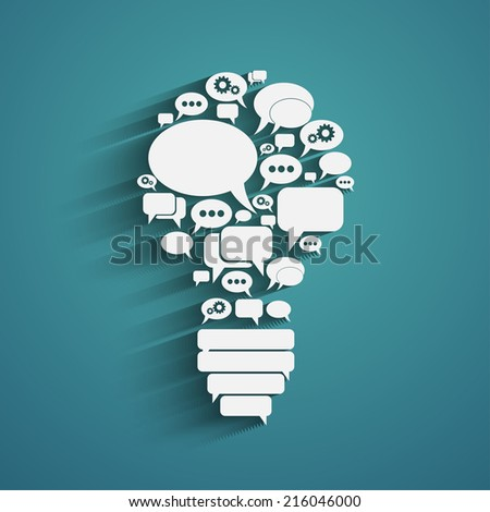 bulb with bubble speech, an idea concept, vector illustration - stock vector