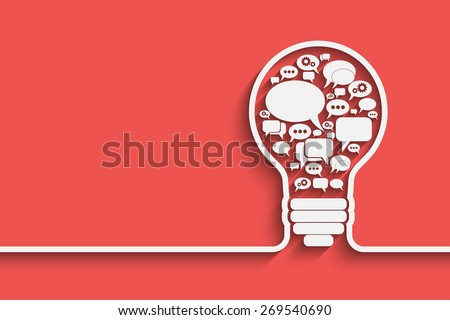 bulb with bubble speech, an idea concept, vector illustration for your design - stock vector