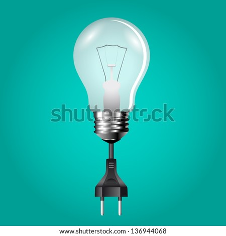 bulb with cable and plug isolated on background - stock vector