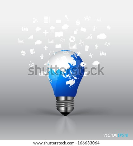 Bulb with cloud of application. Vector illustration. - stock vector