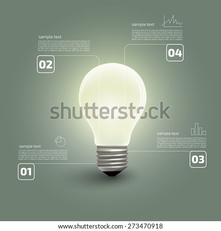 Bulb with infographics elements  - stock vector