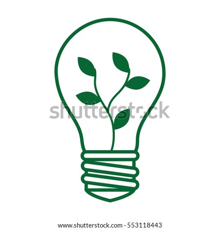 bulb with leafs plant ecology icon