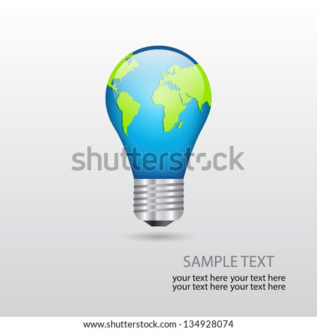 Bulb with planet. Abstract background. EPS10 vector