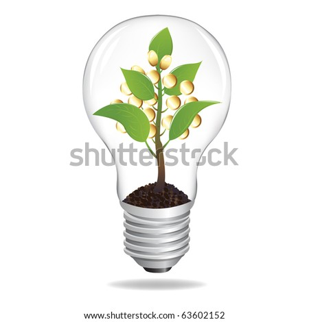 Bulb With Sprout And Coins, Isolated On White Background, Vector Illustration