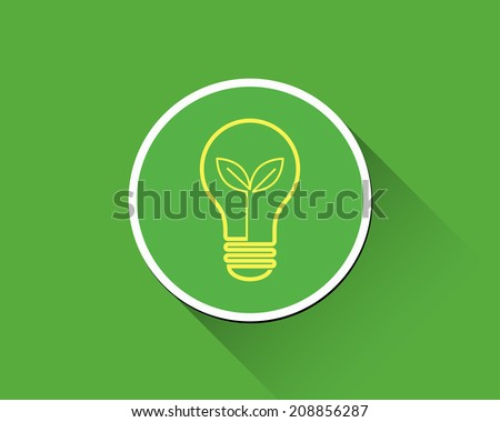 Bulb with young shoots inside. Green light eco concept.