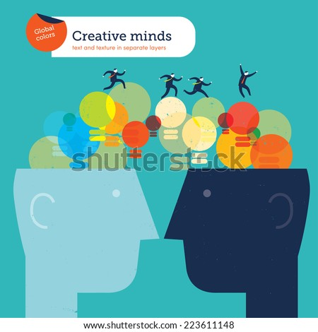 Bulbs bridge with two heads. Vector illustration Eps10 file. Global colors. Text and Texture in separate layers. - stock vector
