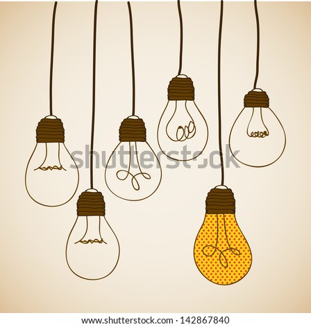 bulbs design over vintage background vector illustration - stock vector