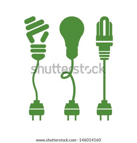 bulbs energy over white background vector illustration   - stock vector