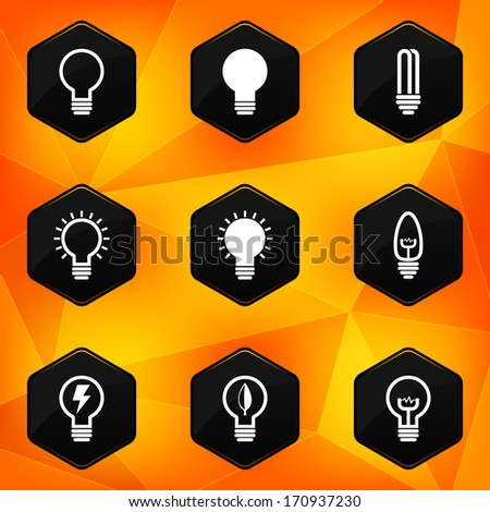 Bulbs. Hexagonal icons set on abstract orange background - stock vector