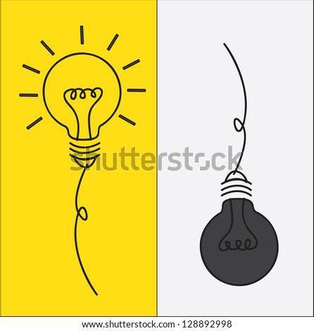 bulbs on and off in contrast vector illustration - stock vector