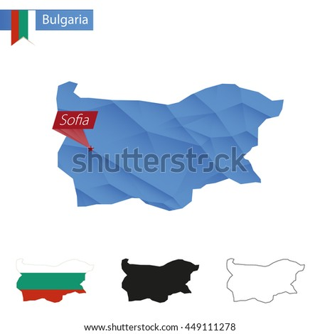 Bulgaria blue Low Poly map with capital Sofia, four versions of map. Vector Illustration. - stock vector