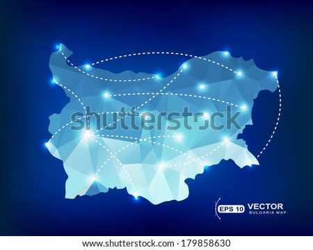 Bulgaria country map polygonal with spot lights places - stock vector