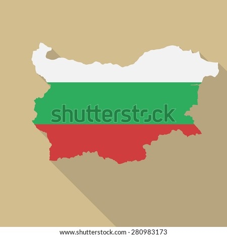 Bulgaria flag,map flat icon with long shadow. Vector EPS10
