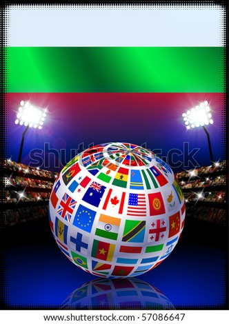 Bulgaria Flag with Globe on Stadium Background Original Illustration