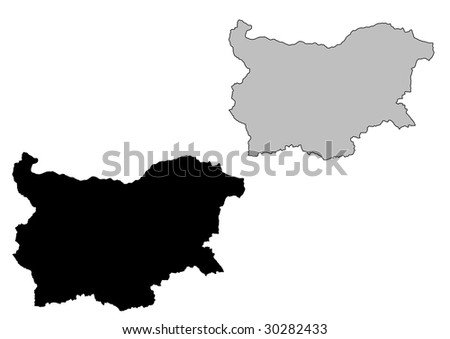 Bulgaria map. Black and white. Mercator projection. - stock vector