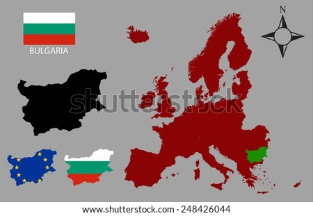 Bulgaria - Three contours, Map of Europe and flag vector