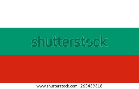 Bulgarian flag. State symbol of Bulgaria. Correct forms and colors. Consists of three horizontal stripes - white, green and red. Can be used to refer country on political maps and information posters. - stock vector