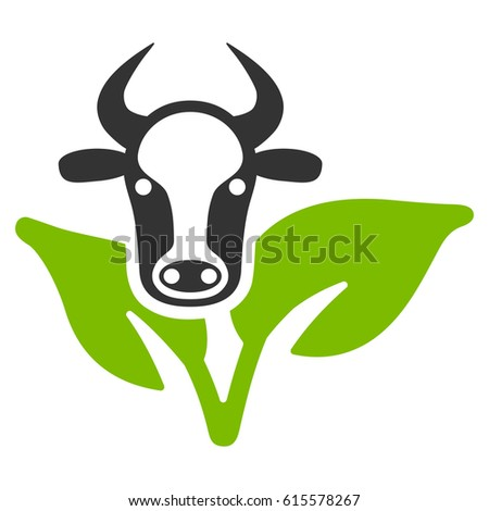 Bull And Plant vector icon. Flat bicolor eco green and gray symbol. Pictogram is isolated on a white background. Designed for web and software interfaces.