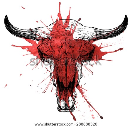 Bull / auroch bloody skull with horns on white background. - stock vector