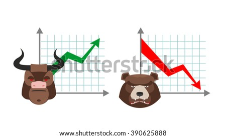 Bull business graph. Growing up green arrow. Bear business schedule. Drop quotes down red arrow. Players on the Exchange. Bulls and bears traders on stock exchange - stock vector