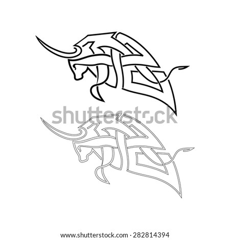 Bull element for design isolated on white background. Vector illustration. - stock vector