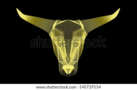 Bull head. Abstract line art. - stock vector