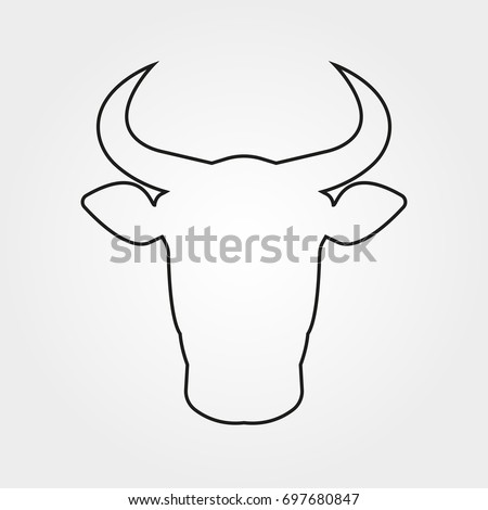 Bull icon. Cow or bull head with horns outline symbol. Vector illustration.