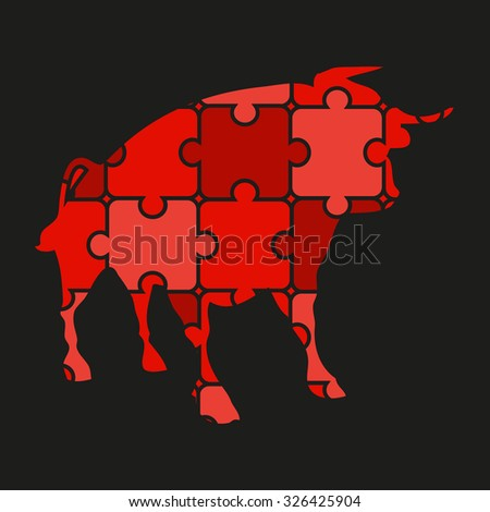 bull logo of puzzles - stock vector